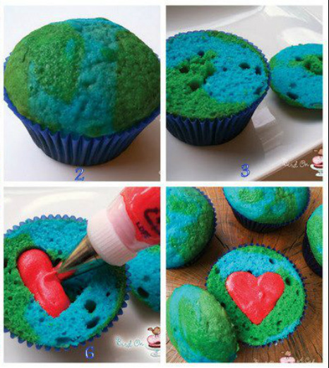 science cupcakes, earth cupcakes